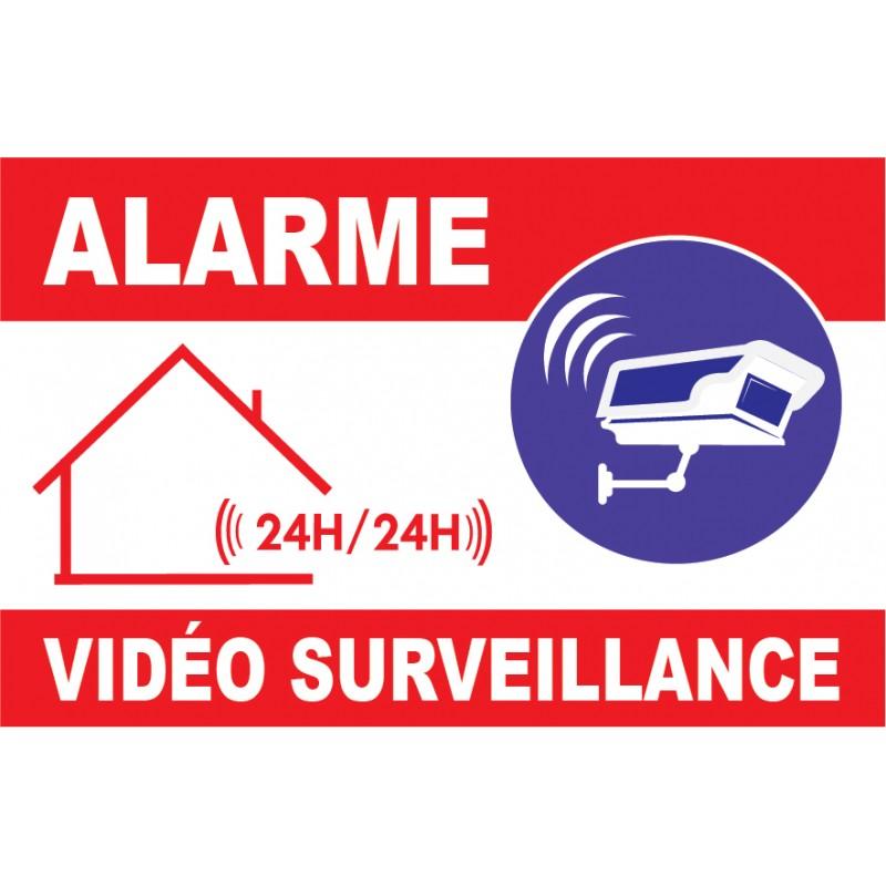 Panneau dissuasion alarme vid o surveillace 24h24 avec for Alarme surveillance maison