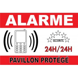 "Adhésif ""Alarme pavillon protégé"" 300x200mm"