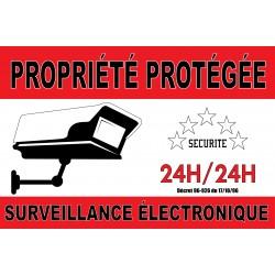 """Adhésif """"Propriété protégé surveillance électronique"""" 300x200mm"""