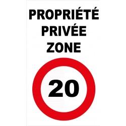 Panneau propriété privée zone 20km/h