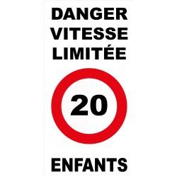 Panneau danger vitesse limitée 20km/h enfants