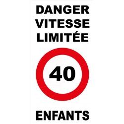 Panneau danger vitesse limitée 40km/h enfants