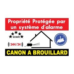 sticker propriété protégée par un système d'alarme et canon à brouillard (lot de 10p)