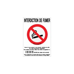 "1 sticker ""interdit de fumer + texte de loi"" petit format 20x15cm."