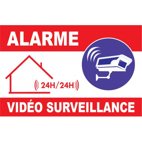 panneau dissuasion alarme vid o surveillace 24h24 avec logo cam ra. Black Bedroom Furniture Sets. Home Design Ideas