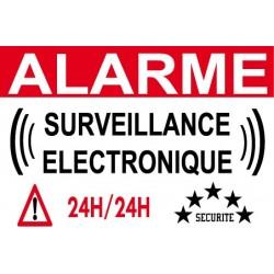 """Adhésif """"Alarme surveillance électronique"""" 150x100mm"""