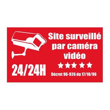 """Adhésif """"Site surveillé par camera vidéo"""" 300x200mm"""