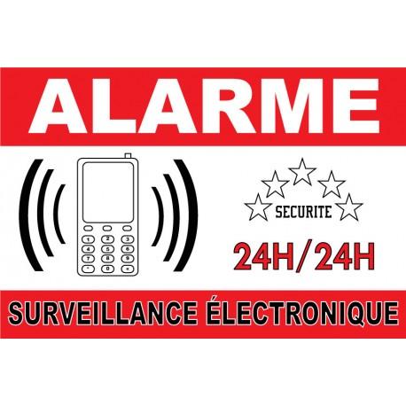 """Adhésif """"Alarme surveillance électronique"""" 300x200mm"""
