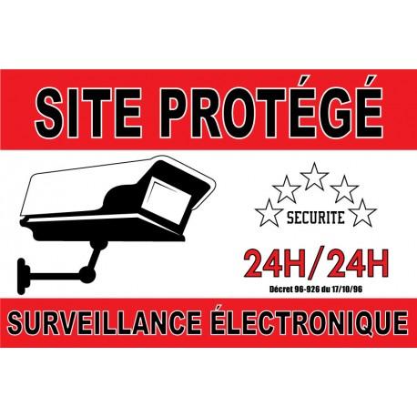 """Adhésif """"Site protégé surveillance électronique"""" 300x200mm"""