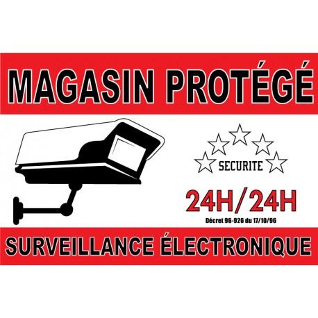 """Adhésif """"Magasin protégé surveillance électronique"""" 300x200mm"""