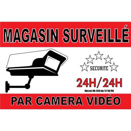 "Adhésif ""Magasin surveillé par caméra vidéo"" 300x200mm"