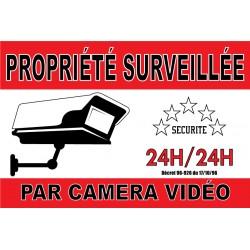 """Adhésif """"Propriété  surveillée par caméra vidéo"""" 300x200mm"""