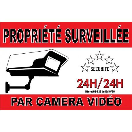 """Adhésif """"Propriété  surveillé par caméra vidéo"""" 300x200mm"""