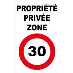 Panneau propriété privée zone 30km/h