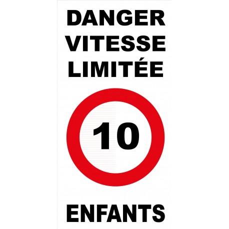 Panneau danger vitesse limitée 10km/h enfants