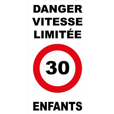 Panneau danger vitesse limitée 30km/h enfants