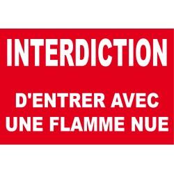 Interdiction d'entrer avec une flamme nue