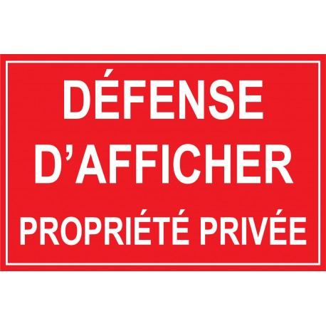 Défense dafficher propriété privée