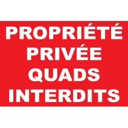 Panneau propriété privée quads interdits