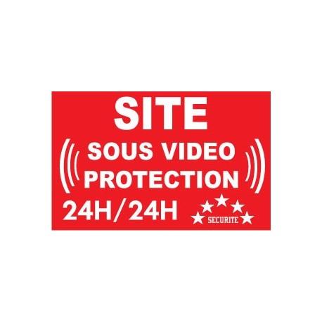 """Adhésif de dissuasion 100x70mm """"site sous vidéo protection"""""""