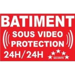 """Panneau """"Bâtiment sous vidéo protection 24h/24"""""""