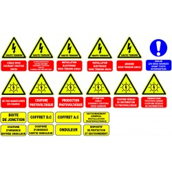 Etiquette pour installations photovoltaïques. lot de 20ex