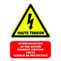 "Etiquette ""Haute tension câble sous courant continu 24h 24"". Lot de 10ex"
