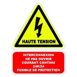 """Etiquette """"interconnexion ne pas ouvrir courant continu 24h/24 fusible de protection"""". Lot de 10ex"""