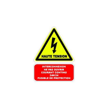 """Etiquette """"Haute tension câble sous courant continu 24h 24"""". Lot de 10ex"""