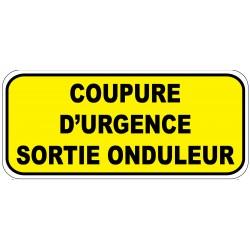 """Etiquette """"Coupure d'urgence sortie onduleur"""". Lot de 20ex"""