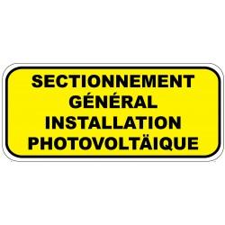 """Etiquette """"Sectionnement général instalation photovoltaÏque"""". Lot de 20ex"""