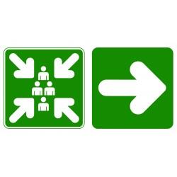 Point de rassemblement direction à droite