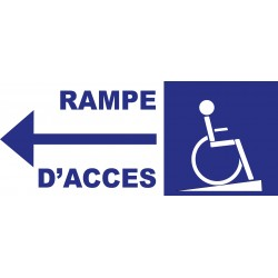 Panneau rampe accés handicapé à gauche