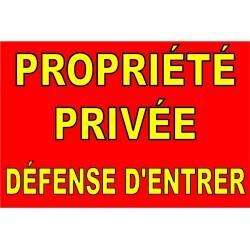 Panneau propriété privée défense d'enter jaune