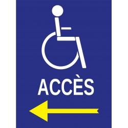 Panneau accès à gauche handicapé