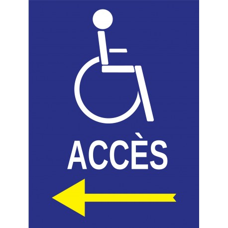 Panneau accès à droite handicapé