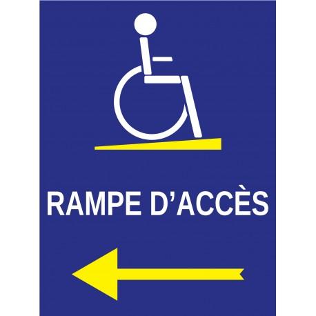 Panneau rampe d'accès à droite handicapé