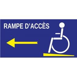 Panneau rampe d'accès à gauche handicapé
