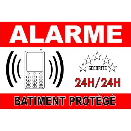 """Adhésif """"Alarme batiment protegé"""" 300x200mm"""