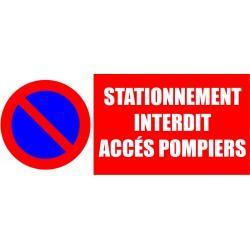 Stationnement interdit accés pompiers 500x200mm