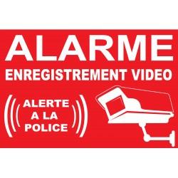 "Adhésif ""Alarme enregistrement vidéo alerte la police"""