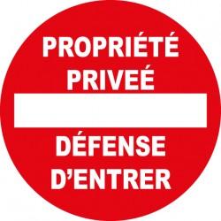 Panneau rond propriété privée défense d'entrer