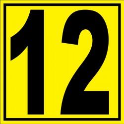 """Panneau signalétique pour entrepôt """"chiffre 12"""""""