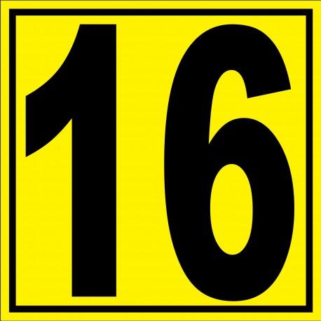 """Panneau signalétique pour entrepôt """"chiffre 16"""""""