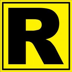 """Panneau signalétique pour entrepôt """"lettre R"""""""