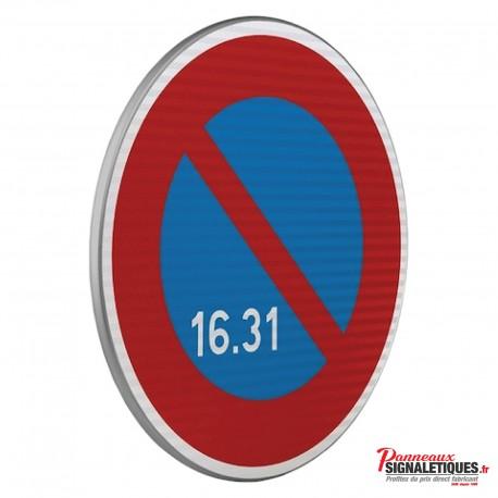 Panneau routier zone à stationnement unilatéral à alternance semi-mensuelle B6A3