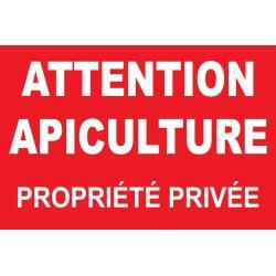 Panneau attention apiculture propriété privée