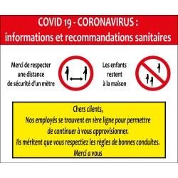 Panneau d'informations et recommandations Covid 19
