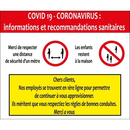 Panneau d'informations et recommandations Covid 19 coronavirus