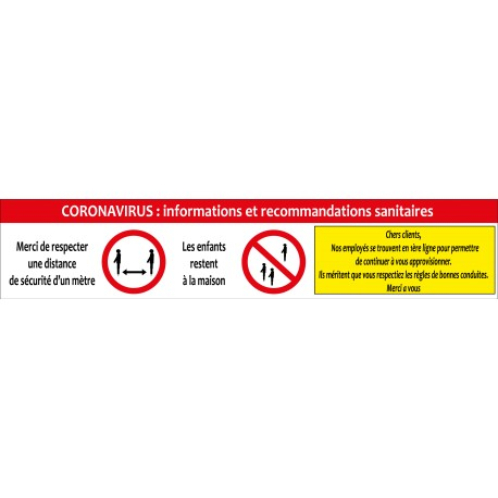 Banderole d'informations et recommandations Covid 19 coronavirus